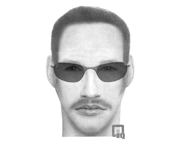 An artist's sketch of a man suspected of threatening an 11-year-old Harvard girl.