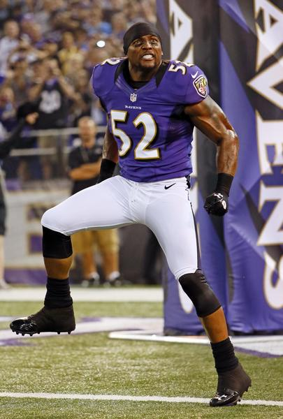 Ravens linebacker Ray Lewis dances during his introduction before a preseason game in August.
