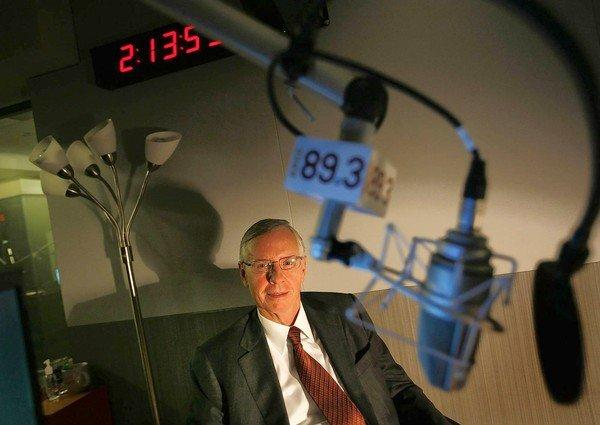 Gordon Crawford of Capital Group is shown at KPCC-FM (89.3) in Pasadena. Crawford says he is worried about the current state of journalism and has given $4 million to help fund a new $24.5-million broadcast facility at the public radio station.