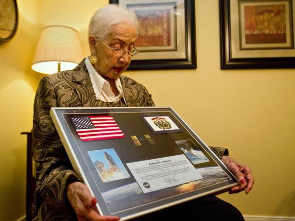 Katherine Johnson speaks about her experience working as a computer at NASA Langley Research Center in Hampton. Johnson, 96, worked as a mathematician at Langley for 33 years.