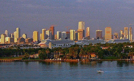 High-rises define the skyline of downtown Miami.