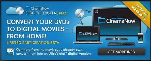 CinemaNow has launched a beta test enabling disc-to-digital conversion to UltraViolet from home.