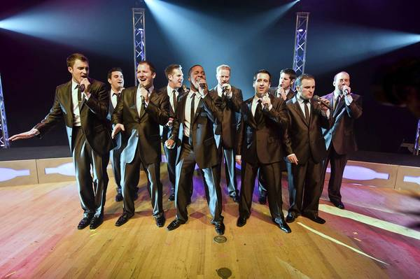 The a cappella group Straight No Chaser, with Allentown native Jerome Collins (center) and Forks native Walter Chase (fourth from right), performs Dec. 23 at Allentown Symphony Hall.