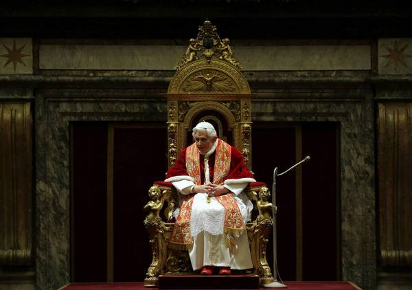 Pope Benedict XVI attends Christmas greetings with the Roman curia at the Clementine hall at the Vatican.
