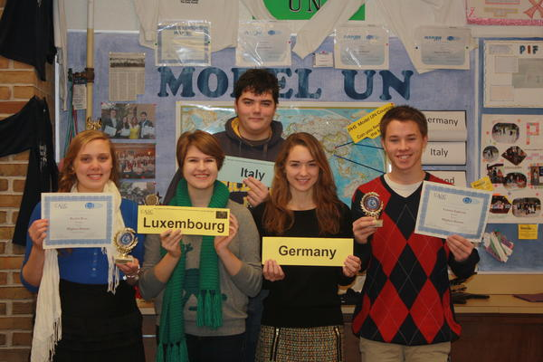 Petoskey High School Model UN students (from left) Rachel Ross, Anne Tsaloff, Nick Maragiolia, Laurel Young and Connor Ingleson return from the Canadian-American Security Councils in Lansing.
