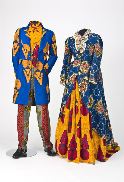 "Yinka Shonibare's ""Victorian Couple"" costume set is part of the Norton Museum of Art's ""Say It Loud!"" exhibition."