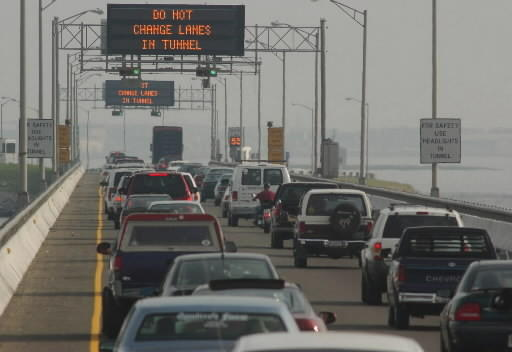Traffic congestion at the Hampton Roads Bridge-Tunnel which has been ranked as one of the worst commutes in the country