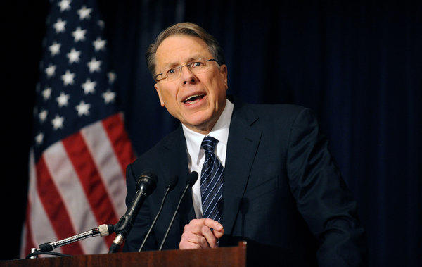 National Rifle Assn. Chief Executive Wayne LaPierre speaks at a news conference at the Willard Hotel in Washington.