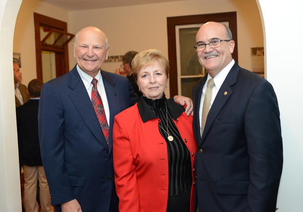 "H. Wayne Huizenga, left, Bonnie M. Flynn and Elton Sayward at the opening of the ""H. Wayne Huizenga Business Center at the Fort Lauderdale Historical Society"" exhibit. The reception was hosted by the Fort Lauderdale Historical Society and took place Dec. 5 at the New River Inn."