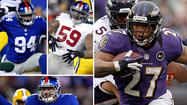 Giants LBs Mathias Kiwanuka, Chase Blackburn and Michael Boley vs. Ravens RB Ray Rice