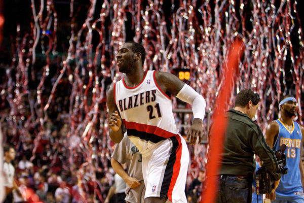 Portland Trail Blazers center J.J. Hickson runs off the court after a game against the Denver Nuggets at the Rose Garden. The Nuggets were 0-22 from three, setting the NBA record for a single game.