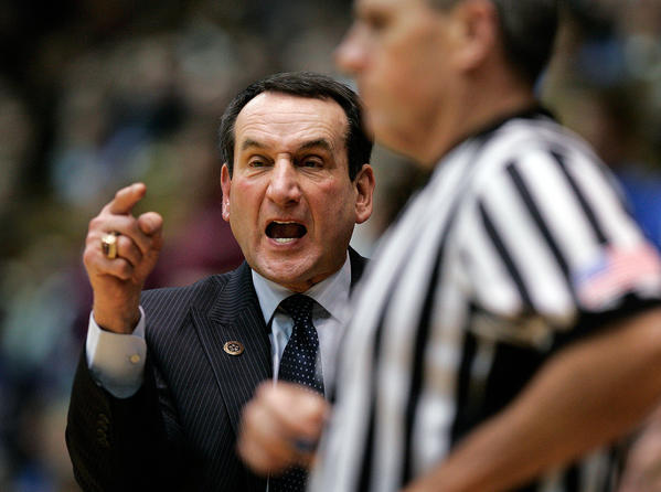 Duke Blue Devils head coach Mike Krzyzewski reacts on the sidelines against the Elon Phoenix during the second half at Cameron Indoor Stadium.