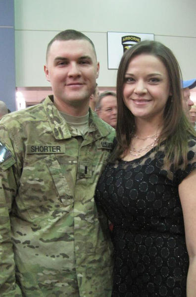 Brandon Shorter, a first lieutenant with the United States Army, will return home to Alanson for the holidays on Christmas Eve. Here he is pictured with wife Kaylee Shorter on the day he returned from an eight-month deployment to Afghanistan.