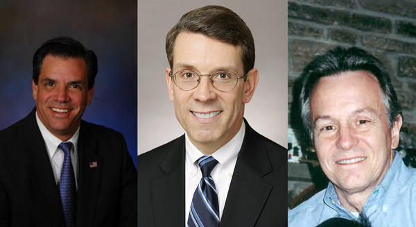Three people are running to be the new mayor of Arlington Heights. From left, Ron Drake, Thomas Hayes and Mark Hellner
