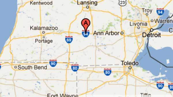 An Amtrak train hit a tractor near parma, Michigan.