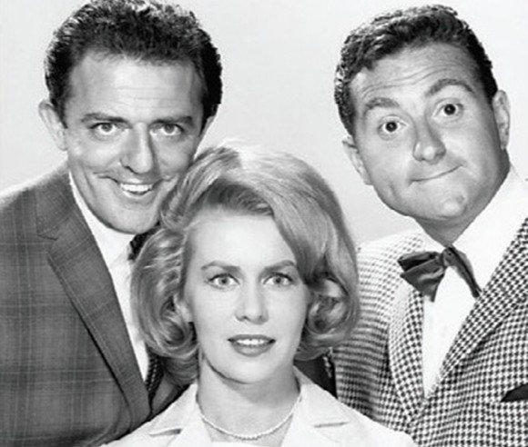 "John Astin, Emmaline Henry and Marty Ingels in the 1960s sitcom ""I'm Dickens, He's Fenster."""