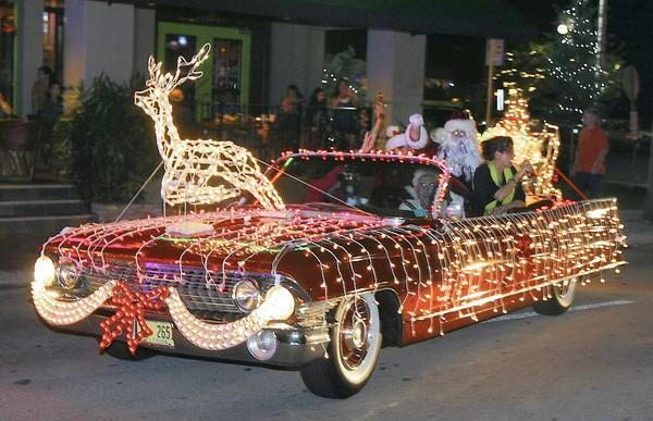 A Caddilac was converted into Santa's sleigh during last year's SantaCon in Fort Lauderdale.