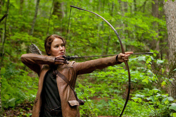 "Jennifer Lawrence portrays Katniss Everdeen in a scene from the Lionsgate movie ""The Hunger Games,"" which filmed in North Carolina."