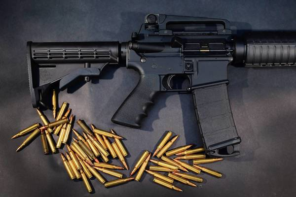 A Rock River Arms AR-15 rifle with ammunition, which is similar to the Bushmaster used by Adam Lanza in Newtown, Conn.