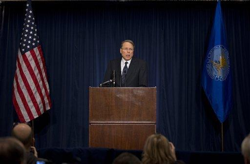 "The National Rifle Association executive vice president Wayne LaPierre, speaks during a news conference in response to the Connecticut school shooting on Friday, Dec. 21, 2012 in Washington. The nation's largest gun-rights lobby is calling for armed police officers to be posted in every American school to stop the next killer ""waiting in the wings."""