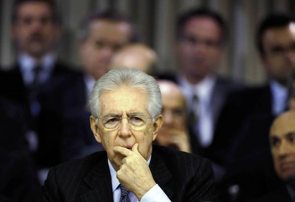 Italian Prime Minister Mario Monti during a speech Friday at the Foreign Ministry in Rome.