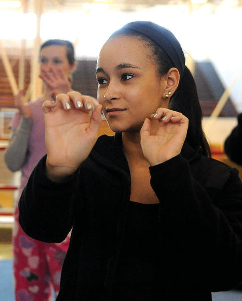 Kaylee Raymer learns self defense skills at George Rogers Clark High School.