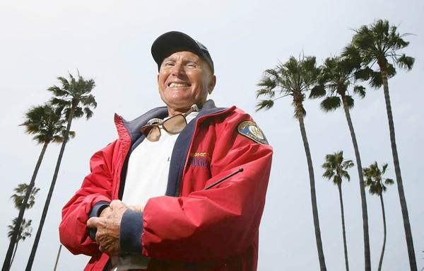 Newport Beach lifeguard Buddy Belshe, seen here in 2007. He died this week at age 78.