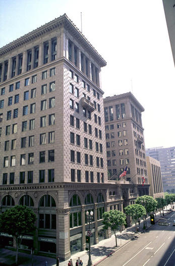 The PacMutual office complex stands in downtown Los Angeles.