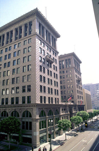 The PacMutual office complex at 6th and Olive streets in downtown Los Angeles was once headquarters of Pacific Mutual Life Insurance Co.