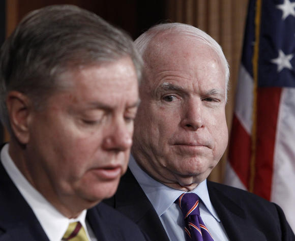 Sen. John McCain (R-Ariz.), right, and Sen. Lindsey Graham