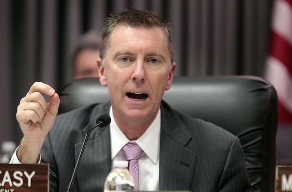 Los Angeles Schools Superintendent John Deasy is seen speaking at a school board members meeting on Mar. 13. Los Angeles Unified school board decreed last week that district administrators must obtain board approval before applying for any grants of more than $1 million.