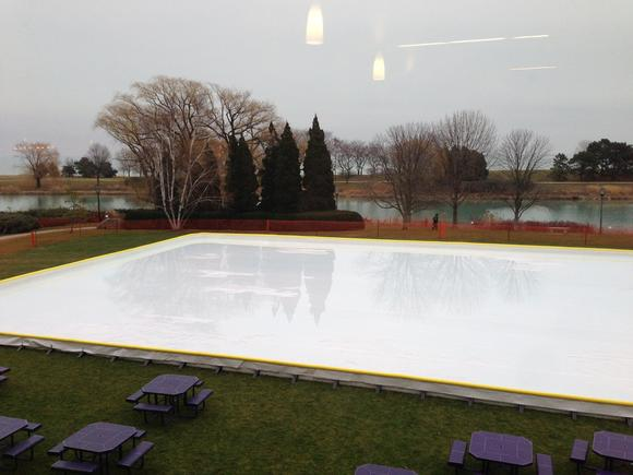 The rink, filled with water