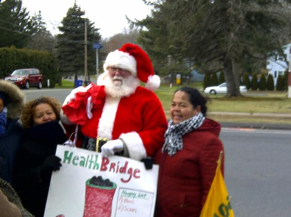 A man dressed as Santa Claus joined the Healthbridge strikers in Newington.