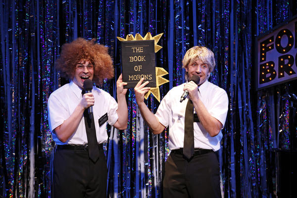 "Marcus Stevens (left) and Scott Richard Foster (right) parody ""The Book of Mormon"" in the New York production of ""Forbidden Broadway."""