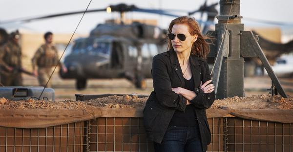 "Stationed in a covert base overseas, Jessica Chastain plays a member of the elite team of spies and military operatives who secretly devoted themselves to finding Osama Bin Laden in ""Zero Dark Thirty."""