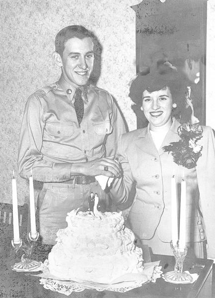 "William E. ""Bill"" Murray and Rayetta ""Marie"" Murray pose for this picture taken April 16, 1949, their wedding day."