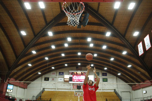 Hartford Hawks forward Cherelle Moore warms up before the start of the game against the Connecticut Huskies at the Chase Family Arena.