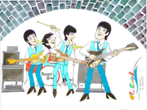TV Beatles at Cavern by Ron Campbell, director of TV Beatles Saturday Morning Cartoon Series, among the works featured in The Art of the Beatles show at Montgomery Mall in North Wales.