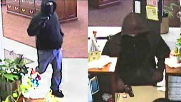 Surveillance photos of a man wanted in connection with a Saturday bank robbery in Batavia.