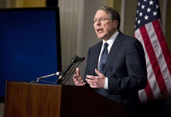 Wayne LaPierre, executive vice president of the National Rifle Association, speaks during a press conference in Washington Friday. NRA, the powerful U.S. gun rights lobby, went on the offensive on Friday arguing that schools should have armed guards, on a day that Americans remembered the victims of the Newtown school massacre with a moment of silence.