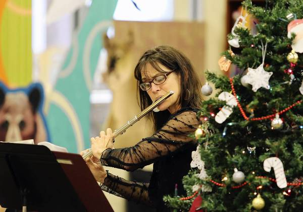 Robin Etter plays flute while Orlando harpist Victoria Schultz serenades library visitors with harp music selections for the holiday season on Tuesday, December 11, 2012. (Tom Benitez/Orlando Sentinel)
