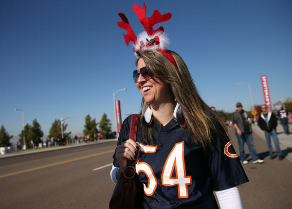 Bears fan Anna Henderson of Phoenix gets in the holiday spirit.