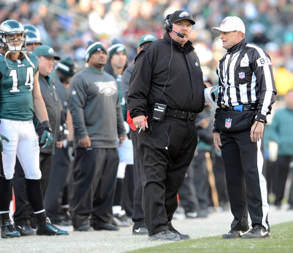 Philadelphia Eagles head coach Andy Reid looks up at the replay against the Washington Redskins  at Lincoln Financial Field in Philadelphia on Sunday.