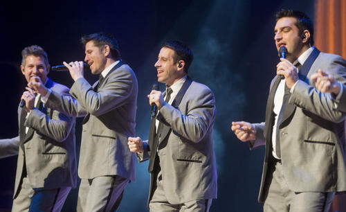 Forks Twp. native Walter Chase (third from left) performs with Straight No Chaser at Miller Symphony Hall on Sunday.