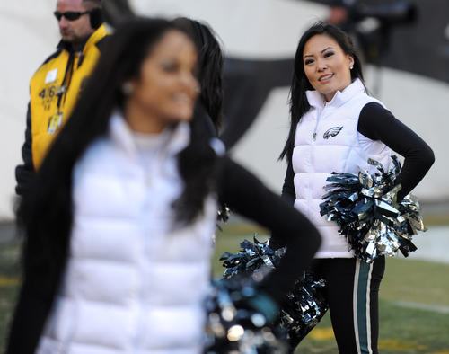 Eagles Cheerleaders entertain the crowd during the Eagles vs Redskins game at Lincoln Financial Field on Sunday.