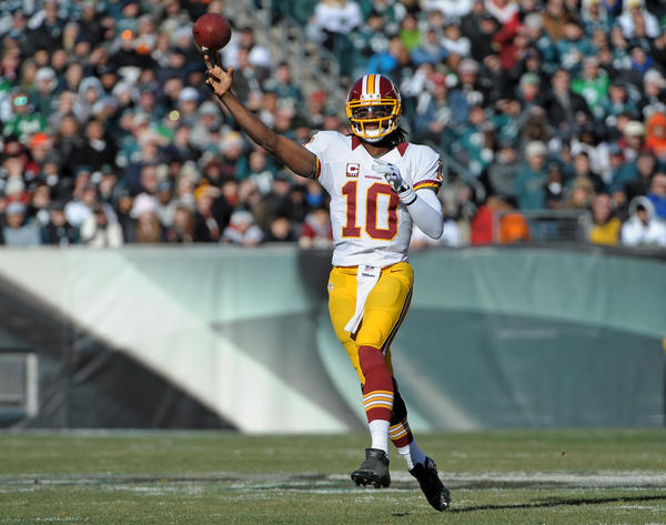 Washington Redskins quarterback Robert Griffin III (10) throws a pass against the Philadelphia Eagles during the second quarter at Lincoln Financial Field.