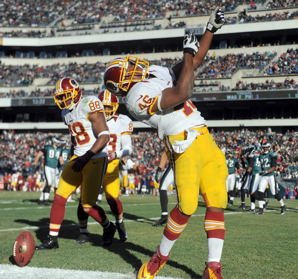 Washington Redskins running back Alfred Morris (46) celebrates a touchdown against the Philadelphia Eagles at Lincoln Financial Field in Philadelphia on Sunday.