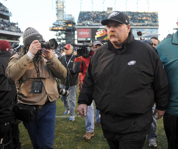 Philadelphia Eagles head coach Andy Reid walks off of the field after loosing to the Washington Redskins at Lincoln Financial Field in Philadelphia on Sunday.