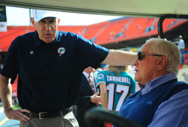 Miami Dolphins coach Joe Philbin speaks with ahll of fame Dolphins coach Don Shula before the Buffalo Bills game, Sunday, Dec. 23, 2012, at Sun Life Stadium in Miami Gardens.