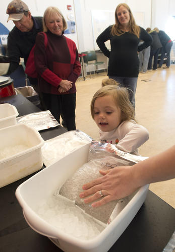 Aveline Bubnis, 3, of Hainesport, New Jersey, tries one of the activities at the new Polar Science Adventures at the Da Vinci Science Center in Allentown on Sunday. Polar Science Adventuresincludes two rooms of activities and a series of stage shows.